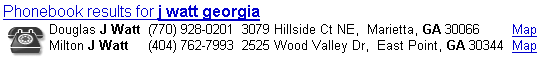 Result from a phonebook search